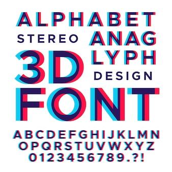 Estereoscópico estéreo 3d letras y números.