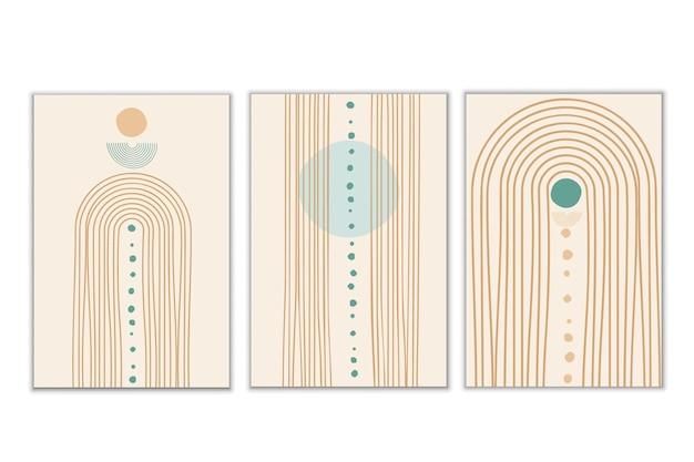 Estética contemporánea abstracta boho arco iris equilibrio formas boho arco decoración de la pared minimalista moderno