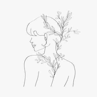 Estético cuerpo de mujer vector line art minimalistas dibujos en escala de grises