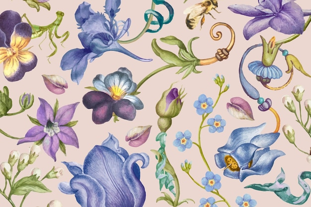 Estético patrón floral púrpura sobre fondo rosa, remezclado de obras de arte de pierre-joseph redouté