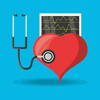 Estetoscopio comprueba al corazón y revisa el ritmo cardíaco.