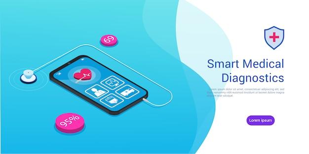 Estetoscopio de diagnóstico médico inteligente isométrico y un teléfono inteligente con una aplicación médica, copyspace