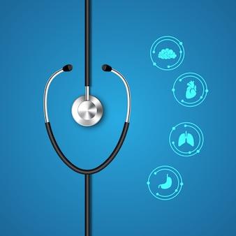 Estetoscopio e infografía. plantilla médica y sanitaria.