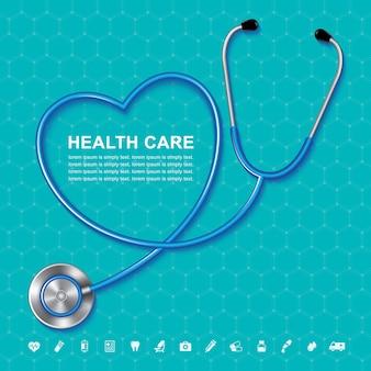 Estetoscopio y latido del corazón iconos planos en forma de corazón en médicos