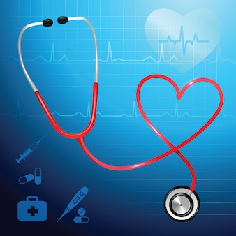Estetoscopio de servicio de salud médico y corazón símbolo vector ilustración