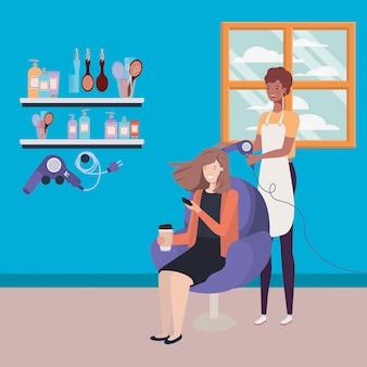 Estilista arreglando el cabello al cliente en los personajes del salón