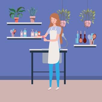 Estilista mujer que trabaja en la escena del lugar de trabajo de salón