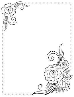 Estilizado con patrón decorativo de tatuajes de henna para decorar portadas de libros, cuadernos, ataúdes, revistas, postales y carpetas. flor color de rosa en estilo mehndi. marco en la tradición oriental.