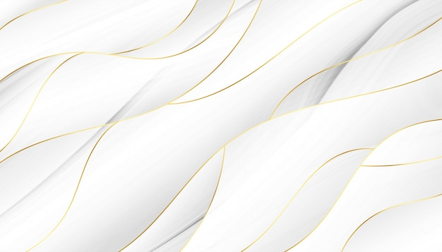 Estilo 3d que fluye fondo ondulado blanco y dorado