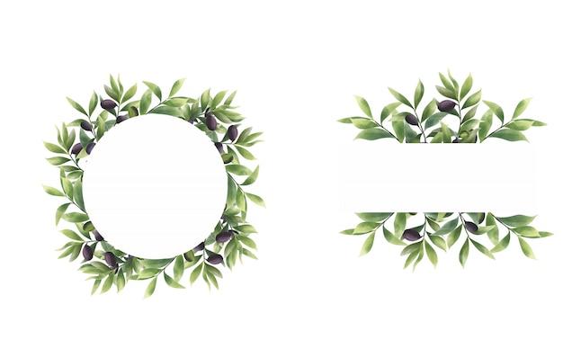 Estilo de acuarela de marco de hoja de olivo