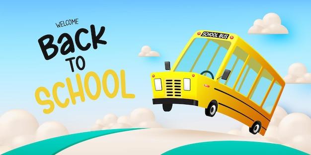 Estilo de arte 3d de autobús escolar conduciendo en la carretera con ilustración de vector de fondo de cielo hermoso