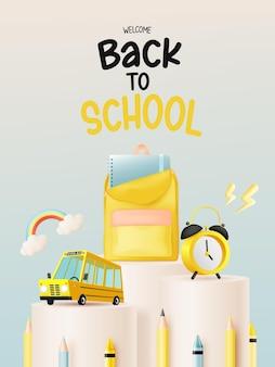Estilo de arte 3d de autobús escolar con útiles escolares ilustración vectorial