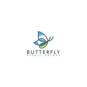 Estilo de arte de línea de diseño de logotipo de mariposa, ilustración de vector de animales de belleza