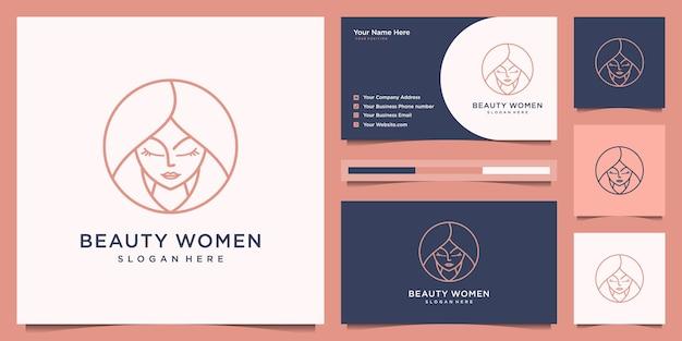 Estilo de arte de línea de diseño de logotipo de peluquería de mujeres de belleza. diseño de logo y tarjeta de visita.