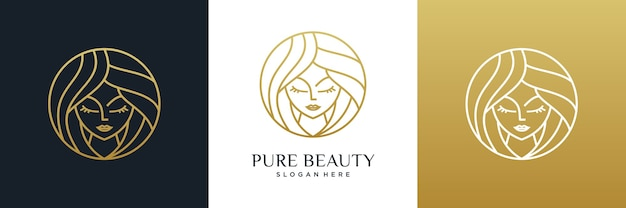 Estilo de arte de línea de diseño de logotipo de peluquería de mujeres de belleza.