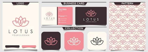 Estilo de arte de línea de icono de logotipo de flor de loto.
