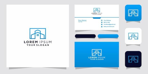 Estilo de arte de línea de logotipo de inicio y tarjeta de visita
