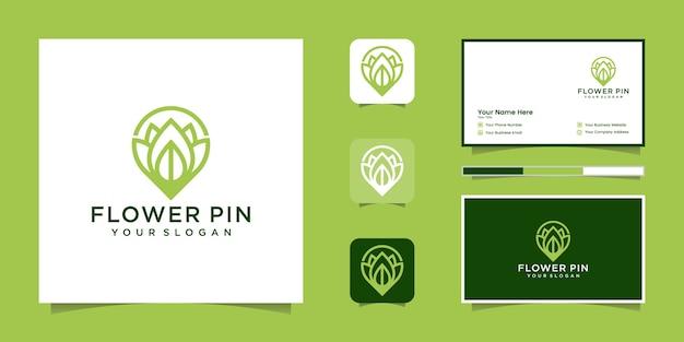 Estilo de arte de línea de logotipo de ubicación de flores mapa de tecnología empresarial naturaleza y tarjeta de visita