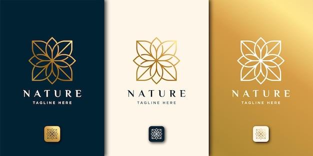 Estilo de arte de línea de naturaleza de belleza de lujo. plantilla de logotipo de hoja
