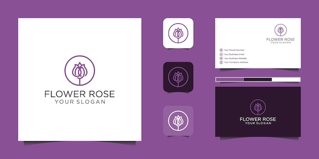 Estilo de arte minimalista elegante flor rosa línea. productos de lujo para salón de belleza, moda, cosmética, yoga y spa. diseño de logo y tarjeta de presentación