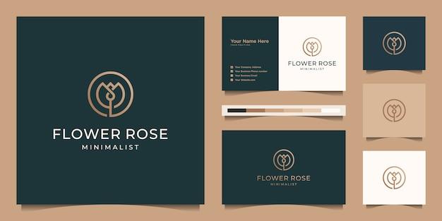 Estilo de arte minimalista elegante flor rosa línea. productos de lujo para salón de belleza, moda, cuidado de la piel, cosméticos, yoga y spa. diseño de logo y tarjeta de presentación