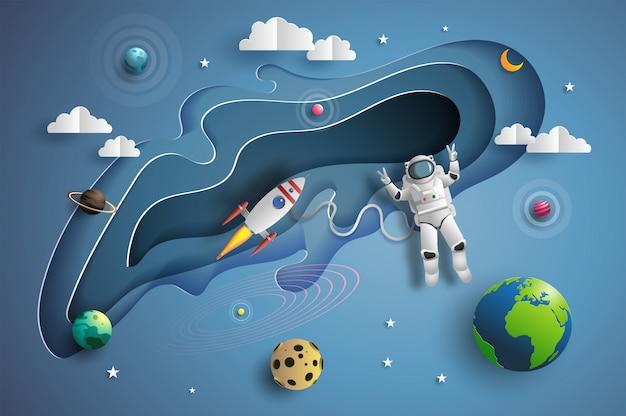 Estilo de arte en papel del astronauta en el espacio exterior en misión.
