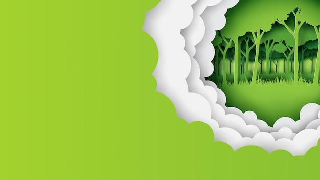 Estilo de arte de papel de banner de plantilla de naturaleza verde