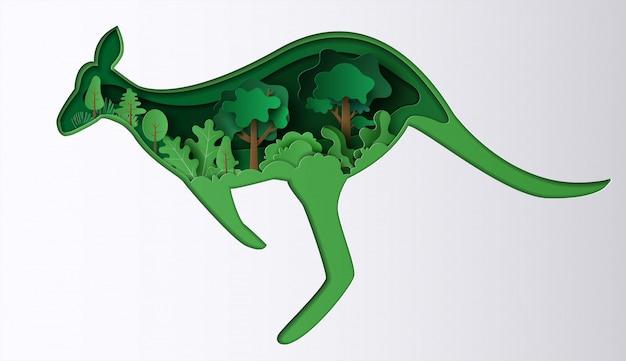 Estilo de arte de papel de canguro con muchas plantas, origami salva el planeta y la energía.