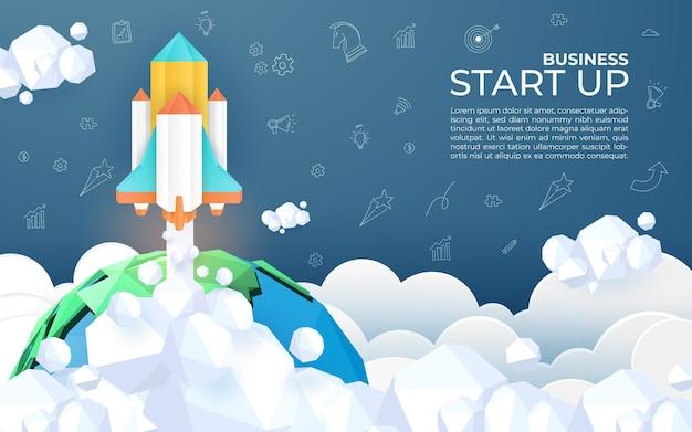 Estilo de arte de papel de cohete volando en el espacio, puesta en marcha de garabatos, concepto de negocio