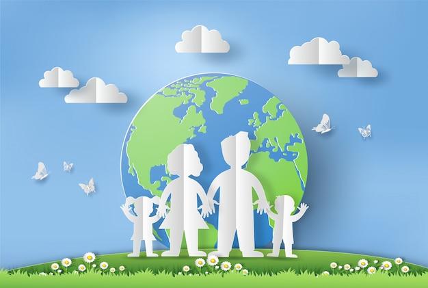 Estilo de arte en papel del concepto del día mundial del medio ambiente.