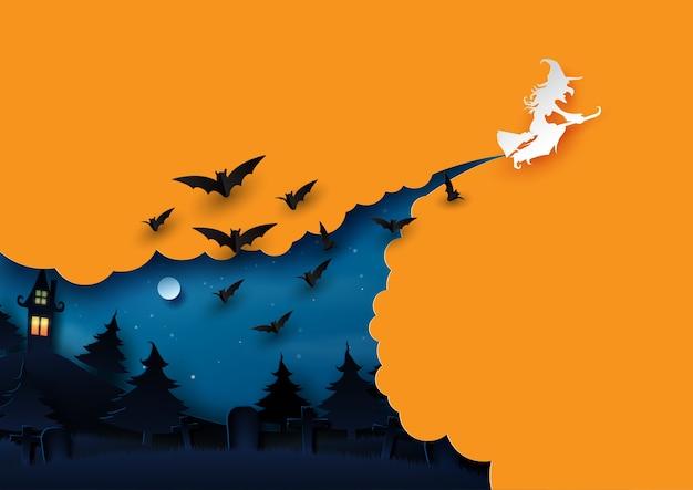 Estilo del arte del papel de concepto del fondo de halloween.