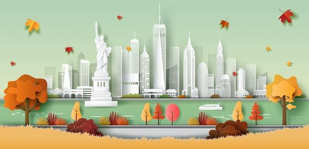 Estilo de arte en papel de la estatua de la libertad, el horizonte de la ciudad de nueva york, ee.uu., el concepto de viajes y turismo.