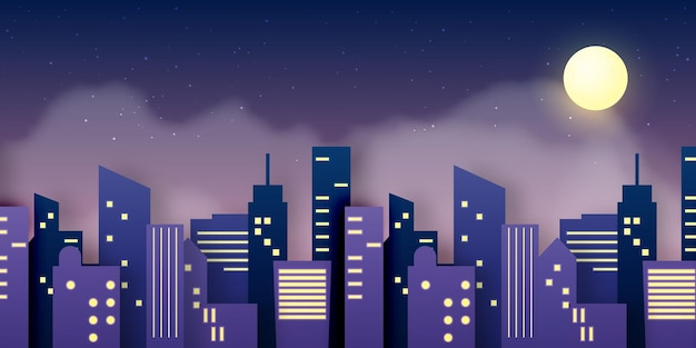 Estilo de arte de papel de estrella de la ciudad en ilustración de esquema de color pastel