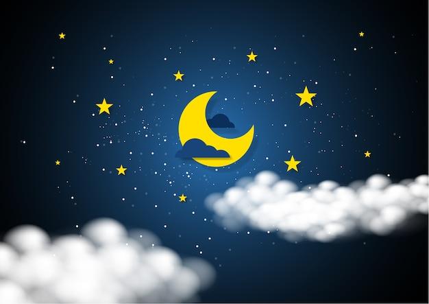 Estilo de arte de papel de la luna y las estrellas en la medianoche