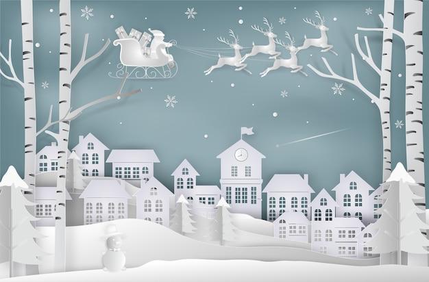 El estilo del arte en papel de santa claus viene a la ciudad. feliz navidad y año nuevo.