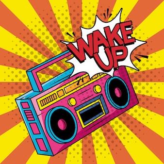 Estilo de arte pop de radio retro reproductor de música