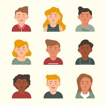 Estilo avatar para diferentes jóvenes.