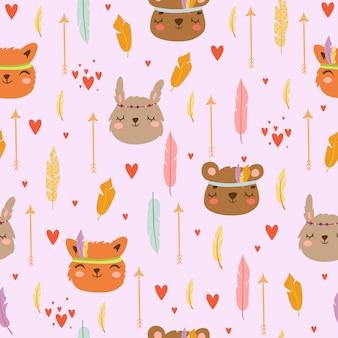 Estilo boho de patrones sin fisuras, con animales de dibujos animados lindo