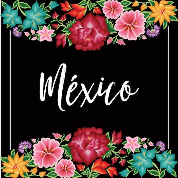 Estilo de bordado de plantilla floral de oaxaca mexico