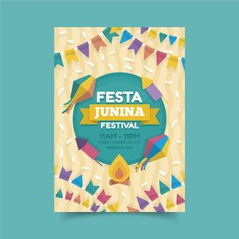 Estilo de cartel de celebración del festival de junio