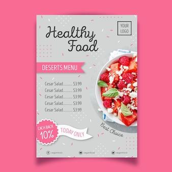 Estilo de cartel de restaurante de comida saludable