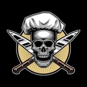 Estilo de chef maestro de calavera para diseño de camisetas