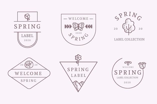 Estilo de colección de etiquetas de primavera dibujadas a mano