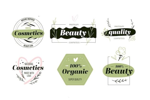Estilo de colección de logotipos de cosméticos naturales