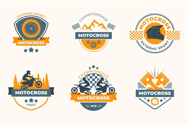 Estilo de colección de logotipos de motocross