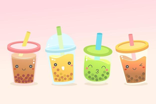 Estilo de colección de té de burbujas kawaii