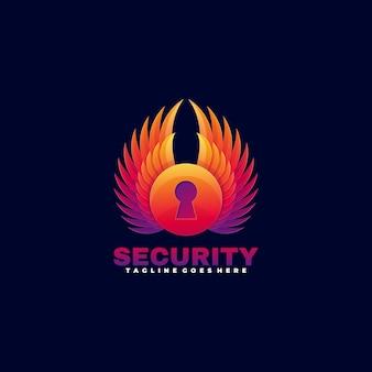 Estilo colorido de la pendiente de la seguridad del tiempo de la ilustración del logotipo.