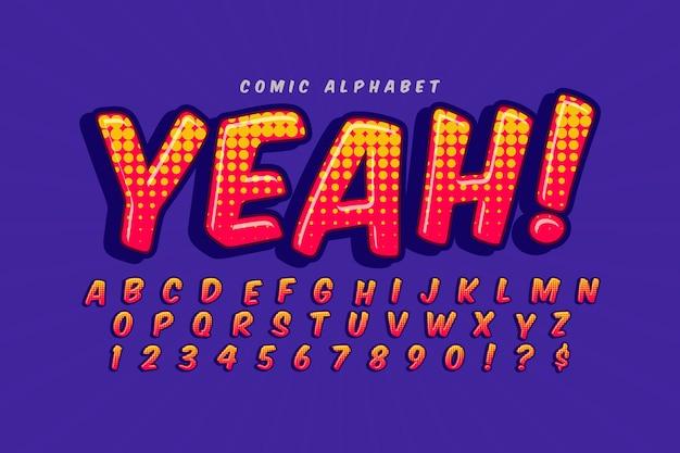 Estilo cómico 3d para colección de alfabeto
