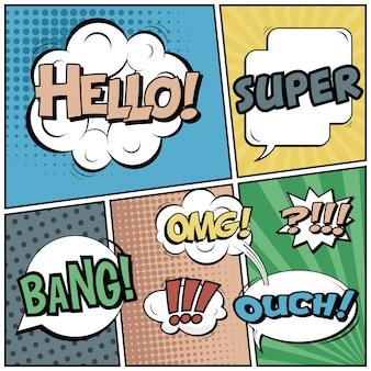Estilo cómico del arte pop con burbujas de discurso