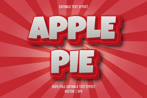 Estilo cómico de efecto de texto editable de tarta de manzana